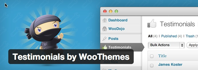 testimonials by Woothemes plugin for WordPress