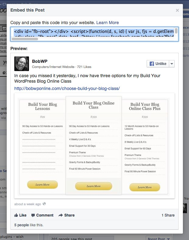 embed facebook post code