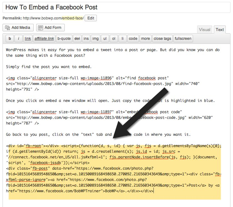 facebook post in WordPress post