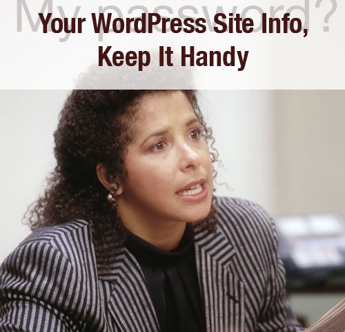 Your WordPress Site Info, Keep It Handy