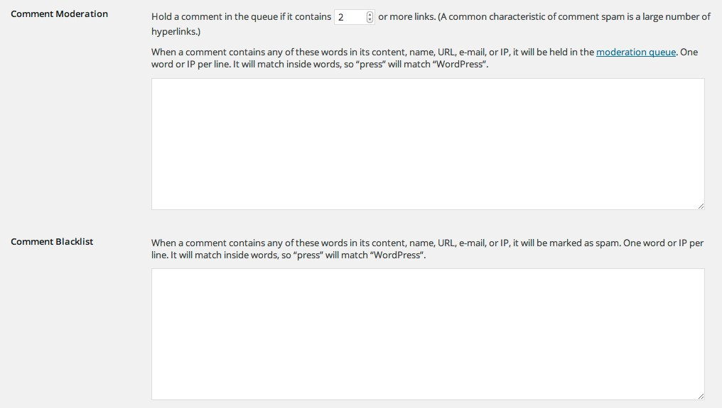 discussion comment moderation and blacklist