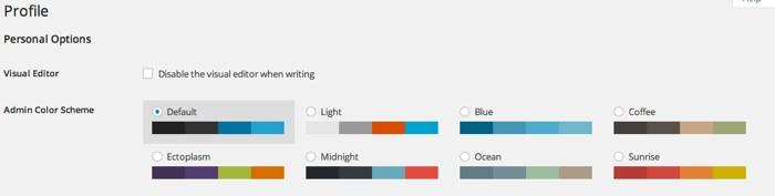 WordPress 3.8 dashboard colors