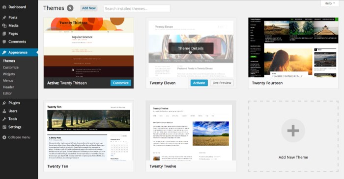WordPress 3.8 theme management