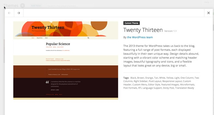 WordPress 3.8 theme preview