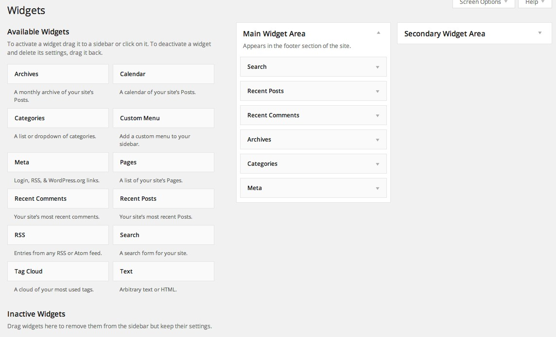 WordPress 3.8 widget area
