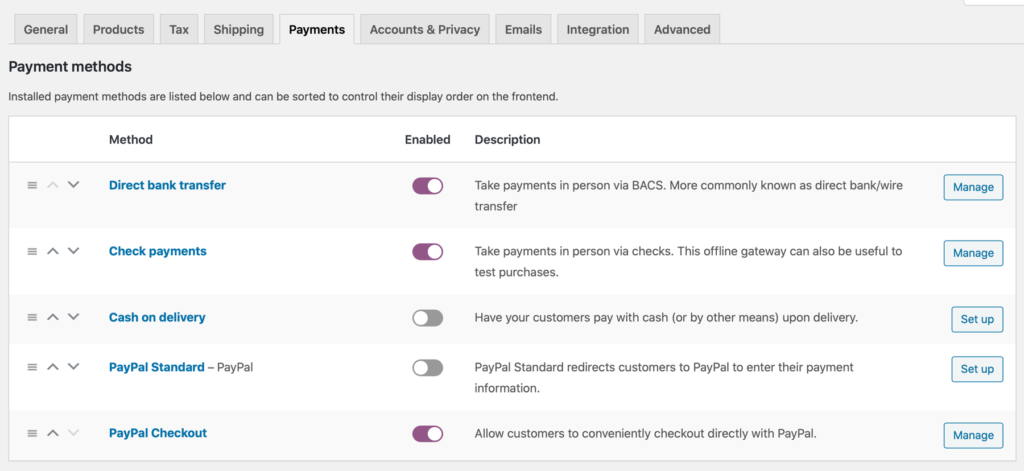 toggle PayPal Checkout extension on