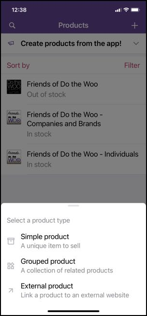 Woo mobile app create product